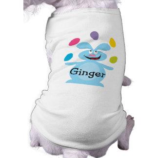 Camiseta azul del perro del conejito playera sin mangas para perro