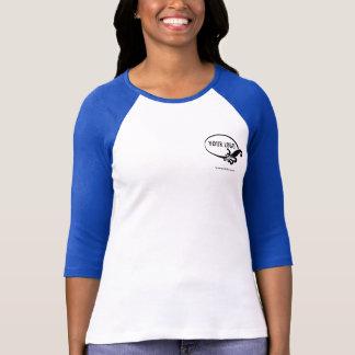 Camiseta azul del raglán del logotipo de encargo poleras