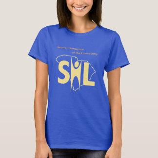 Camiseta azul del SHL de las mujeres con el URL