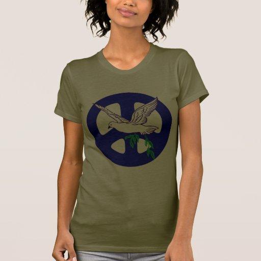 Camiseta azul del signo de la paz y de la paloma