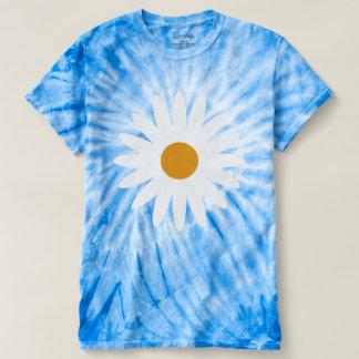 Camiseta azul del teñido anudado de la margarita playera