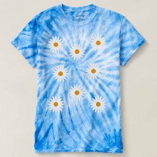 Camiseta azul del teñido anudado de las tarimas de playeras