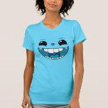 Camiseta azul feliz doble de las señoras de la car