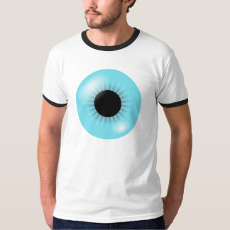 Camiseta azul grande del globo del ojo