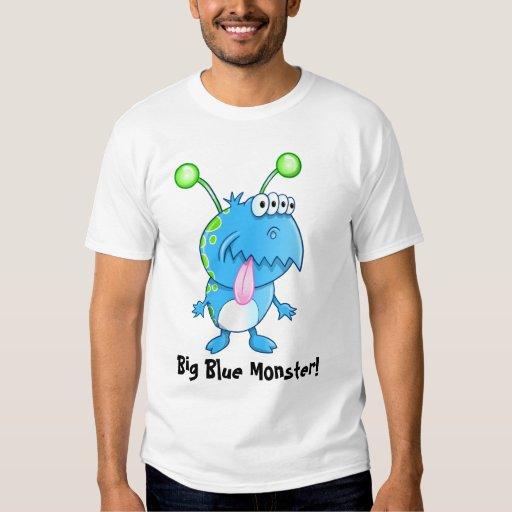 Camiseta azul grande del monstruo polera