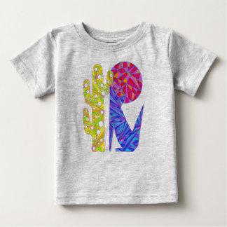 Camiseta azul linda del arte del cactus y de la polera
