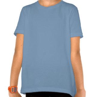 Camiseta azul linda del florista de la mariposa