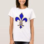 Camiseta azul marino y del oro de la flor de lis