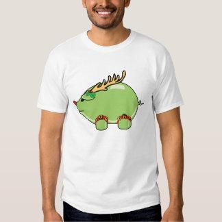 Camiseta básica del cerdo verde del día de fiesta poleras