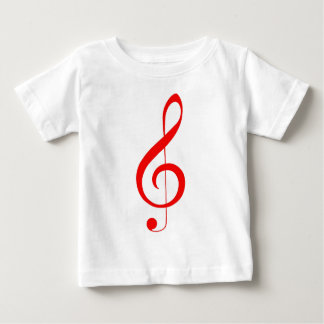 Camiseta blanca con el Clef agudo rojo