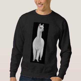 Camiseta blanca de la alpaca sudadera con capucha