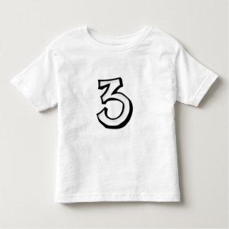 Camiseta blanca de los niños del número 3 tontos playeras