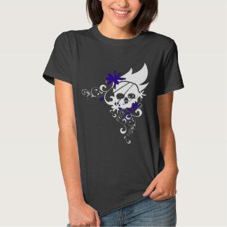 Camiseta blanca del cráneo del Grunge (púrpura) Playeras
