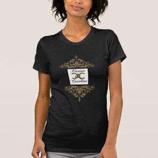 Camiseta blanca del dulce 16 del damasco del negro