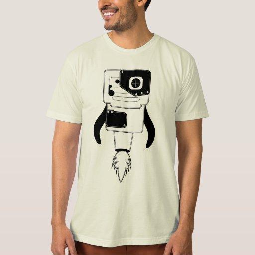 camiseta blanca negra del fire_robot poleras