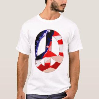 Camiseta blanca y azul roja del signo de la paz