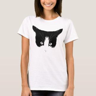 Camiseta blanco y negro de la cara del gato