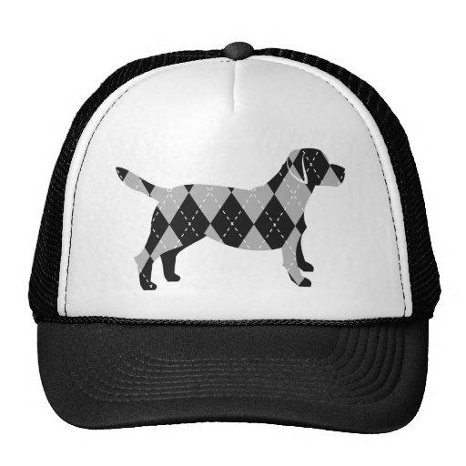 Camiseta blanco y negro del perro de Argyle Labrad Gorras