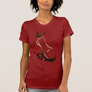 Camiseta bonita del gato siamés que se sienta