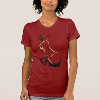 Camiseta bonita del gato siamés que se sienta playeras
