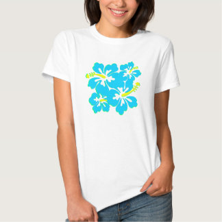 Camiseta bonita del hibisco de la aguamarina remeras