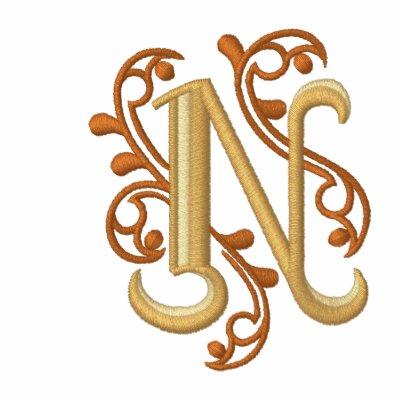 Camiseta bordada de la letra N del monograma
