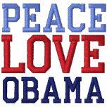 Camiseta bordada de Obama del amor de la paz