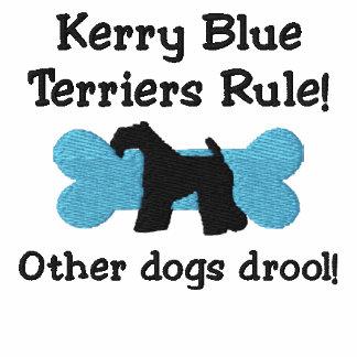 Camiseta bordada regla de los terrieres de azul de