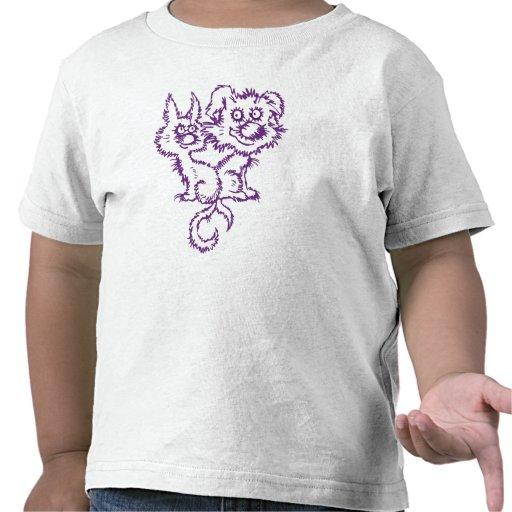 Camiseta borrosa del perrito y del gatito para los