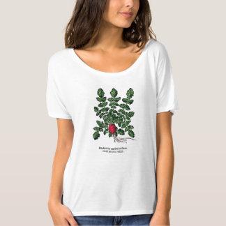 Camiseta botánica del vintage - pequeño rábano del playera