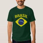 Camiseta brasileña simple del verde de la bandera playera