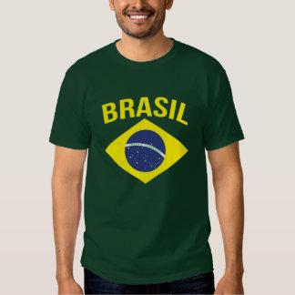 Camiseta brasileña simple del verde de la bandera poleras