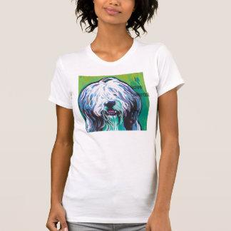 Camiseta brillante del arte pop del collie barbudo playera