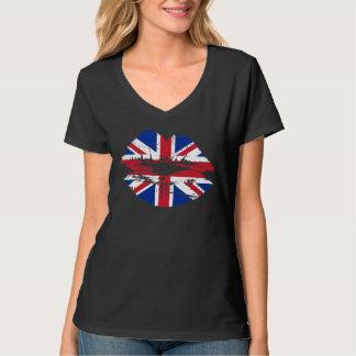Camiseta BRITÁNICA de los labios de la bandera de Playeras