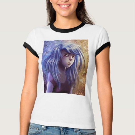 Camiseta cabelluda azul del retrato del chica remera