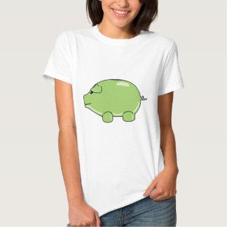 Camiseta cabida cerdo verde remera