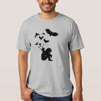 Camiseta caida del gris del ángel playera