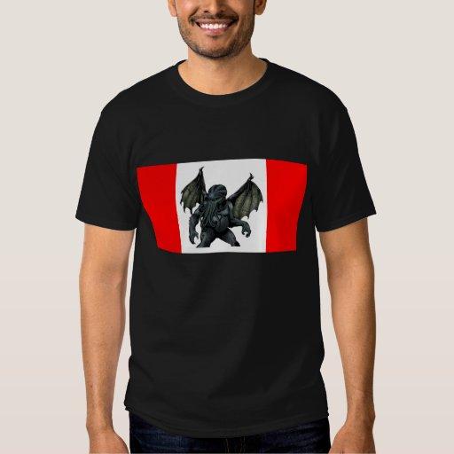 Camiseta canadiense de la bandera de Cthulhu Playeras