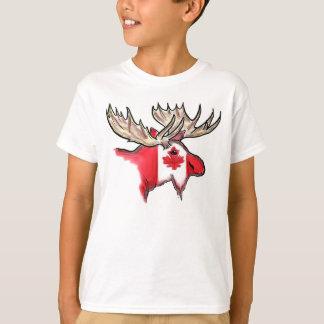 Camiseta canadiense de los alces de los muchachos