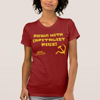 Camiseta capitalista de la ironía de las mujeres playeras