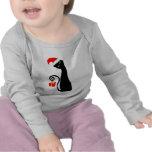 Camiseta caprichosa del bebé del gato de Santa