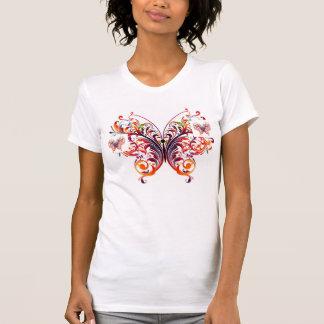 Camiseta caprichosa rosada entonada de la mariposa remera