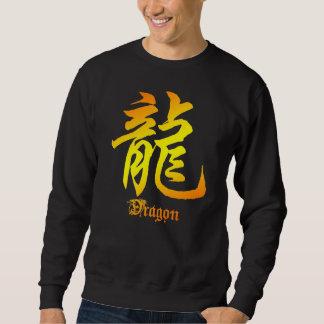 Camiseta china del negro del carácter del dragón sudadera