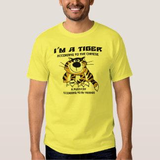 Camiseta china divertida del tigre del zodiaco playeras