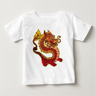 Camiseta china roja del niño del dragón