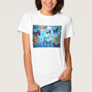 Camiseta, cielo de la mariposa poleras