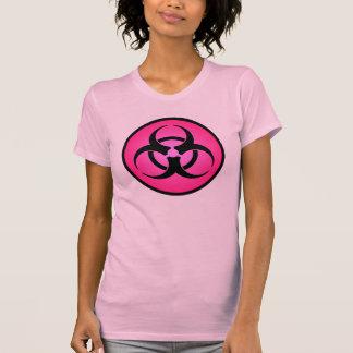 Camiseta color de rosa del símbolo del Biohazard