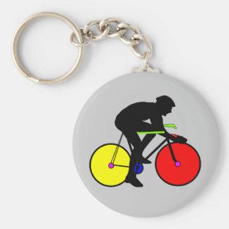Camiseta coloreada multi de la bici de la biciclet llavero redondo tipo pin
