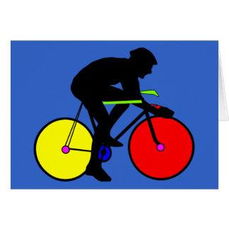 Camiseta coloreada multi de la bici de la biciclet tarjeta de felicitación