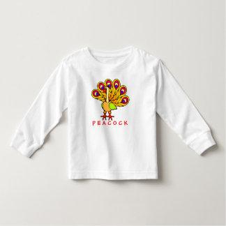 Camiseta colorida adorable del niño del pavo real